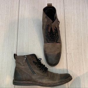 John Varvatos USA Brown Distressed Leather Boots